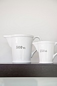 White measuring jugs