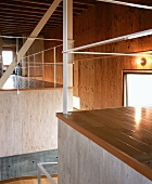 Modern Japanese house with interior structures and wood cladding on walls and ceiling
