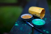 Paints and brushes in a garden