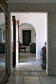 Stone door frame in hallway