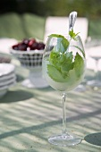 Drink with mint leaves in wine glass on table in pattern of light and shade