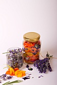 Dried lavender flowers and various flower petals