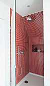 Shower with red mosaic wall tiles