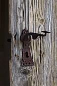 Old, rusty lock and handle on wooden door