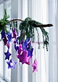 Advent calendar of hand-sewn felt stars