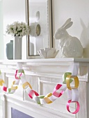Homemade Easter Decorations on a Mantel