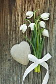 Snowdrops with bow and stone heart