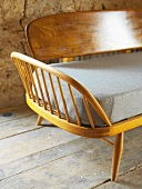 Fifties-style bench on old floorboards