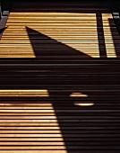 Pattern of light and shade on wooden slats