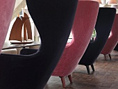 Black and pink armchairs