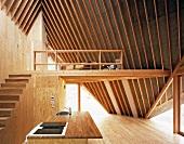 Kitchen island in elegant wooden house