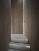 Top of stairs in purist corridor with integrated doors flush with wood cladding