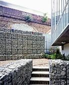 Courtyard with gabion wall
