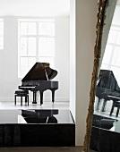 Piano, pedestal & large mirror