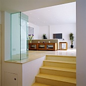 Steps up to living room with sofa & TV