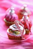 Cupcake Christmas tree baubles