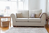 Light sofa with scatter cushions and side table in living room