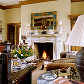 Open fire in traditional living room