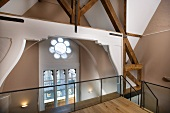 View of rose window from upper storey