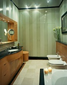Classic, modern bathroom with wooden washstand