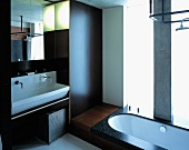 Designer bathroom with wood-panelled walls and sunken bathtub