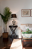 Potted palm tree next to table lamp on side table in corner of modern living room
