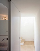 View into stairwell from bathroom