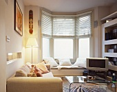 Small living room with window seat