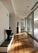 Hall with benches, large windows & terrace door