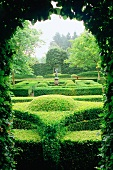 View through opening in hedge of gardens with topiary hedges, an example of landscape gardening