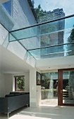 Contemporary glass roof above living space