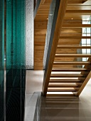 Bottom view of modern, wooden staircase