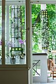 Blick durch Fenster auf Orchideentöpfe auf Fensterbank und in den Garten