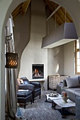 Rustic living room in modern country-house style with cubic pendant lamp