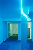 Foyer with partition and blue lighting