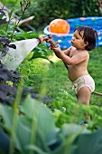 Little girl watering plants in garden