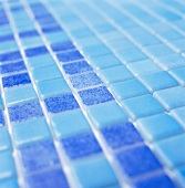 Light blue and dark blue wall tiles (detail)