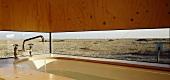 Bathtub next to panoramic window