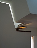 Detail of contemporary stairwell wall in living space