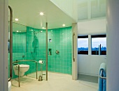 Spacious bathroom with turquoise tiled walls in toilet and shower area