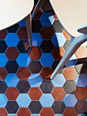 View of multi-coloured, honeycomb-pattern tiles