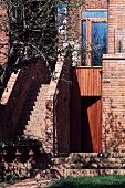 Brick exterior stairs and facade