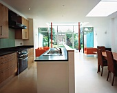 Open-plan kitchen with dining area