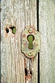 Detail of weathered wooden fence with keyhole plate