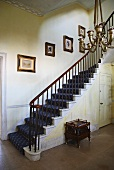 Foyer with staircase in English manor house