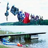Swimsuits hanging on washing line in front of jetty