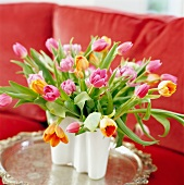 Multi-coloured tulips in vase
