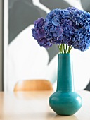 Blue Hydrangea in a Turquoise Vase