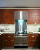 Modern kitchen with dark wood doors and stainless steel cooker unit