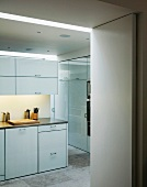 Ample storage space in spacious kitchen with white cupboard doors